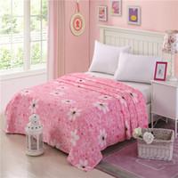 çiçekli kral boy yatak örtüleri toptan satış-Pembe beyaz çiçekler yün battaniyeler Moda prenses çiçek ikiz tam kraliçe kral yatak örtüsü MT270 için polar battaniye atmak