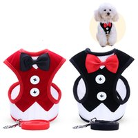 Wholesale dog clothes pet harness - Bowtie Dog Vest Pet Clothes Coat Wear Puppy Costumes Comfortable Apparel With Breakaway Harness Leash New Arrival 9 3fd Z