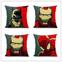Wholesale quality cotton textiles resale online - 3 colors The Avengers Flax Pillow Case Iron Man Batman Pillowslip Home Furnishing Textile Soft Cushion Cover High Quality MMA581