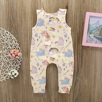 022a79f86801 2018 Unicorn Printed Sleeveless Babys Romper Girls Jumpsuit Cute Summer  Infant Onesie Fashion Toddler Bodysuit Free Shipping kids clothing
