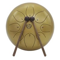 Wholesale drum percussion instrument online - 10 Inch Steel Tongue Drum Handpan Drum Hand Drum Percussion Instrument With Bag