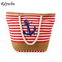 Wholesale blue stripped bags resale online - Rdywbu Summer Anchor Strips Printing Canvas Tote Bag Women s Navy Style Rope Travel Bag Straw Weave Shopping Beach Bag B134 D18102303