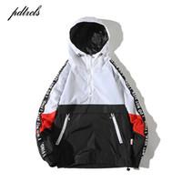 Wholesale fashion blocks resale online - 49New Hooded Jackets Men Hip Hop Patchwork Color Block Pullover Jackets Fashion Tracksuit Casual Coat Streetwear Vintage