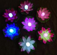 ingrosso decorazioni a piscina galleggiante per feste-LED Lotus Lamp in Colorful Cambiato galleggiante Piscina con acqua che desiderano lampade di luce Lanterne per la decorazione del partito che desiderano lampada HHA9