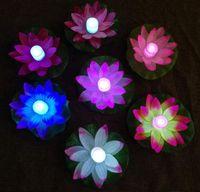 dekorasyon suları toptan satış-Renkli Değişti LED Lotus Lambası Değişen Yüzen Su Havuzu Işığı Dileğiyle Parti Dekorasyon için lambalar Fenerler lamba HHA9