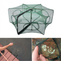 Wholesale Folded Hexagon Hole Fishing Shrimp Automatic Trap Fishing Net Fish Shrimp Minnow Crab Baits Cast Mesh Trap