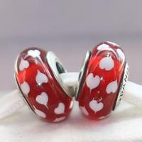 perles rouges en vrac achat en gros de-2pcs 925 fil d'argent sterling au chalumeau coeur rouge verre de Murano perles en vrac Fit européen Pandora DIY Bracelet collier-m34