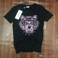 Wholesale Triangle Skateboard - High 2018 ken Tiger Head Cloth Embroidered T-Shirt Men Women Short Sleeve Summer Cotton Tees Skateboards Shirt Floral Triangle Tees.