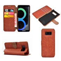 Wholesale note typing case - High Quality Italy Retro Leather Wallet phone Case Bracket Type PU Phone Cases Pouch With Card Slot For Samsung Note 8 S8 Plus