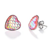Wholesale fishing numbers - Wholesale Japan and South Korea wild new ear ornament multi-color heart-shaped fish scales sequins female earrings