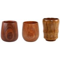 Wholesale milk standards - Top-Grade Retro 5oz Egg Cups Wine Glasses Natural Solid Wood Wooden Tea Cups Wine Beer Cups 150ml Milk coffee mugs