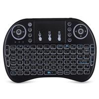 telefone i8 venda por atacado-Nova IPazzPort I8 Multifunções Portátil 2.4 GHz Sem Fio QWERTY Backlit Teclado Com Touchpad Mouse Para Telefone PC Tablet TV Box