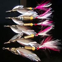 tüylü eğirmen toptan satış-2 Adet / grup Metal Balıkçılık Lure Uzun cast Kaşık Spinner Lures Balıkçılık Yapay Balıkçılık Cazibesi Tüy Ses Dilim Wobbler Bait
