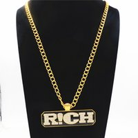 Wholesale rich jewelry - Hip hop Mens Long Link Chain Jewelry Full Iced Out Rhinestones RICH Letters Tag Pendant Gold Necklace The Rap Of China