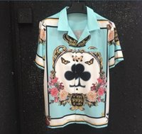 Wholesale cool crowns - 2018 summer new men's Poker Crown love flowers printing t shirts homme men Lapel short sleeves cotton tops cool t shirt Hawaii jersey