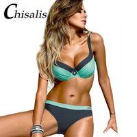 bikini-top sexy mädchen großhandel-Patchwork Sexy Bikini Push Up Frauen Badeanzug Drucken Top Biquini Brasilianische Bikinis Set Schwimmen Badeanzug Mädchen Beachwear Weibliche Badebekleidung