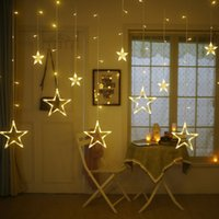 Wholesale star string lights window - 12 Stars 138 LED Curtain String Lights Window Curtain Lights with 8 Flashing Modes Decoration for Christmas Wedding Party Home Patio Lawn