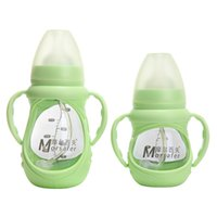 Wholesale bpa free glass baby bottles - Brand Baby Bottle 150ml 240ml Baby Feeding Bottle Middle Size Glass Feeding Fashion Beauty BPA Free Glass