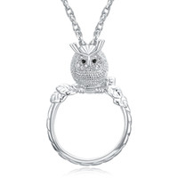 Discount white gold owl necklace Magnifying glass necklace for reading women's fashion Owl pendant necklace Rhodium plated with crystal Magnifier necklace
