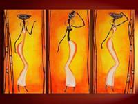 óleo lona pinturas mulheres venda por atacado-3 Painel de Imagens Mulheres Africanas Pintados À Mão Pinturas A Óleo Da Lona Papel De Parede Moderna Home Decor Wall Art Handmade Pintura