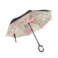 ingrosso vendita di fiori di porcellana-VENDITA CALDA Personalizzato Rosa Cina Rose Fiore Reverse Ombrello di alta Qualità Antivento Pieghevole Double Layer Ombrello Invertito
