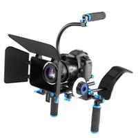 dslr film setleri toptan satış-DSLR Rig Kamera Omuz Sabitleyici Film Filmi Destek Kiti Takip Odak Canon Nikon Sony BMCC GH4 Video Kamera için Mat Kutusu
