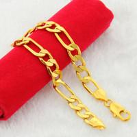 mann reines gold armband großhandel-2018 NEUE 24 Karat Reinem Gold Farbe Armband Kette 6 8 10 MM 20 cm Armbänder Kette für Männer männlichen Arm