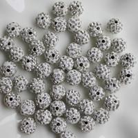 12mm strass ball perlen großhandel-12mm 100 Stücke Crystal Pave Disco Ball Clay Perlen, Polymer Clay Strass Perlen Runde Charms Schmuck Zeug