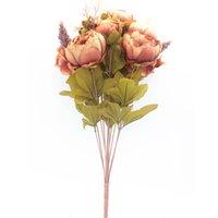 flor elegante da peônia venda por atacado-Casamento de Alta Qualidade 8 Cabeças de Peônia Artificial Elegante Flores De Seda Floral Casa Festa de Casamento Decoração Decoração Flores Artificiales