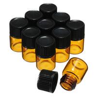 viales de perfume de muestra vacíos 1ml al por mayor-10 Unids / lote 1 ML Ambar Mini Brwon Glass Portable Sample Vial Aceite Esencial botella Vacía Con Orificio Reductor Cap Para Perfume