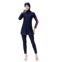 b6158a05b1 Muslim Swimwear Women Islamic Swimsuits Long Sleeve Push Up Bathing Suit  Full Cover Beach Wear Plus Size Two Piece
