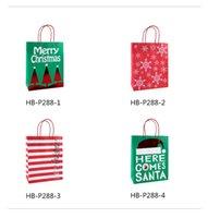 bronzlaştırıcı kağıt toptan satış-12 adetz Yüksek kalite Yılbaşı hediyeleri kraft kağıt torbalar 21 * 25.5 * 10 cm yaratıcı bronzlaşmaya güzel karikatür ambalaj noel çanta torbalar