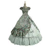 vestidos victorian belle al por mayor-Victorian Lolita Southern Belle Theatre Gothic Lolita Dress Floral azul con volantes magníficos y diseño dulce atiende a la fiesta