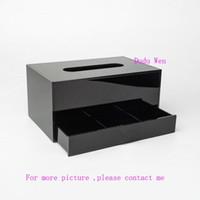 boîte à tissu achat en gros de-Logo de luxe à deux couches Boîte de rangement en acrylique pour la cause des tissus et organisateur de rangement pour bijoux Collection de bureau
