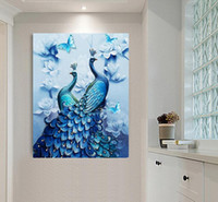 Wholesale Peacock Lovers - 45*75CM Luxury Rhinestone Picture Paste Full Round 5D Diamond Painting Lover Peacock Wedding Gifts Mosaic Embroidery