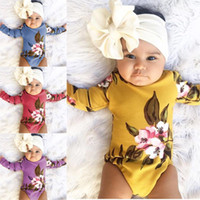 Wholesale Comfortable Baby Girl Clothes - 4 colors newborn baby fashion long sleeve printed jumpsuit rompers kids cute comfortable clothing bodysuit toddler soft jumpsuit bodysuit ou