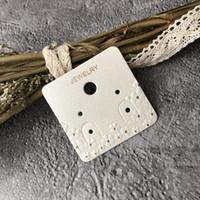 ambalaj damgası toptan satış-Özel Moda 2 Pairs Küpe Asılı Delik Ile Kabartma Altın damgalama Logo Ile Ambalaj Damızlık Kartı