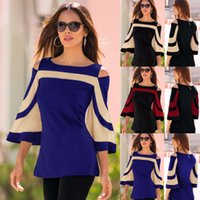 Wholesale red off shoulder blouses - Casual Bat Sleeve Blouse Women Spring New Sexy Off Shoulder Women Shirts Office Ladies Tops Loose Blouses Blusas Femininas