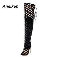 Wholesale flat leather thigh high boots - Aneikeh Thigh High Gladiator Sandals Boots Women Sexy Peep Toe Netted Cut-out Over Knee Gladiator Boots High Heel Sandal