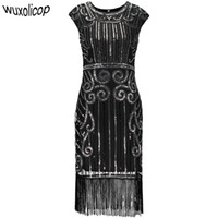 d31538f8cdd Années 1920 Vintage inspiré Sequin embelli Fringe Longue robe Gatsby  Flapper O-Neck Cap manches géométriques fantaisie 20s Party Dress