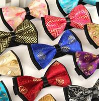 ingrosso cravatte cinesi-100 pz / cravatta da uomo Poliestere di seta casual jacquard plaid cravatta stile cinese coreano inglese farfallino produttore all'ingrosso