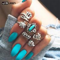 ingrosso set di gioielli tartaruga-2017 Fashion Finger Ring Set Antique Bohemian Jewelry Crown Tortoise Elephant Knuckle Rings6PCS / Set