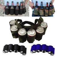 accesorios canes al por mayor-6-Pack Cinturón de Cerveza Al Aire Libre Portátil Escalada Senderismo Cerveza Cintura Can Holder Picnic Bag Vajilla Accesorios GGA432 10 unids