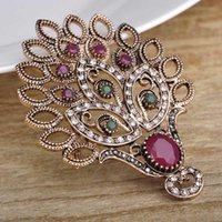 Wholesale Wedding Hats For Men - Wholesale- Blucome Red Peacock Hedgehog Shape Brooches For Women Men Antique Gold Plated Wedding Brooch Hat Hair Accessories Turkish Pins