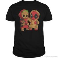 ropa popular de la marca del bebé al por mayor-Baby Groot y Deadpool Factory Outlet camiseta tamaño S-3XL camiseta manga corta marca personalizada ropa Popular Rashguard más tamaño algodón Crew