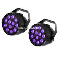 led uv luz plana venda por atacado-2 pçs / lote 12X3W UV LED PAR Light DMX Efeito de iluminação de palco DMX512 Master-Slave Led Flat para DJ Disco Party KTV roxo PAR LEDS