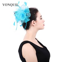 Wholesale crinoline fascinator for sale - 2018 New arrival HOT PINK crinoline fascinators hat hair accessories for wedding church Party Kentucky derby ascot races SYF395