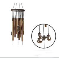 Wholesale copper pipe online - Retro Wind Chime Home Furnishing Copper Pipe Ship Anchor Lucky Indoor Courtyard Ornaments Novelty Items Hot Sale bz V
