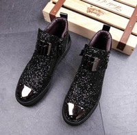 Wholesale gold glitter wedges - mens shoes Men's Casual barber Casual shoes sequins stylist mens designer shoes men luxury loafers 84