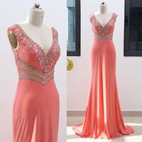 персиковый цвет выпускного вечера оптовых-Потрясающий персиковый цвет линии блесток вечернее платье выпускного вечера платье в наличии